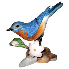 "Eastern Bluebird Porcelain Figurine - Franklin Mint ""Birds  and Blossoms of the World"" Collection"