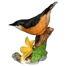 "Nuthatch Porcelain Figurine - Franklin Mint ""Birds  and Blossoms of the World"" Collection"