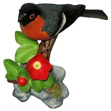 "Bullfinch Porcelain Figurine - Franklin Mint ""Birds  and Blossoms of the World"" Collection"