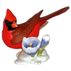 """Cardinal Porcelain Figurine - Franklin Mint """"Birds  and Blossoms of the World"""" Collection"""