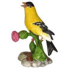"American Goldfinch Porcelain Figurine - Franklin Mint ""Birds  and Blossoms of the World"" Collection"
