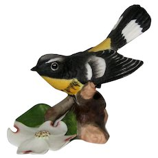"Magnolia Warbler Porcelain Figurine - Franklin Mint ""Birds  and Blossoms of the World"" Collection"