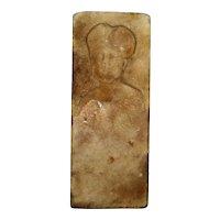 Primitive antique Americana marble carving – portrait of a woman