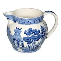 "Wedgwood and Barlaston Etruria Blue Willow 3"" Pitcher"