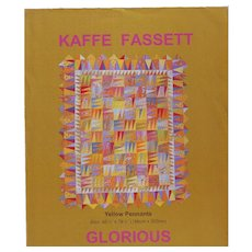"""1998 Kaffe Fassett """"Yellow Pennants"""" Quilt Top Kit - Unused with Instructions"""