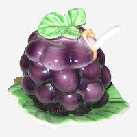 Mid Century Lefton, Japan Grapes Figural Jam or Jelly Jar with Original Sticker