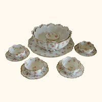 Twelve Piece Haviland Limoges Dessert or Pudding Set - Pink Roses