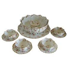 Twelve Piece Haviland Limoges Dessert or Pudding Set - Pink Roses
