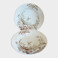 Two Powell and Bishop Aesthetic Transferware Plates - Egersund - circa 1880