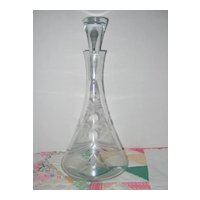 Elegant 1940's Wine Decanter and Stopper - Etched Flower Pattern