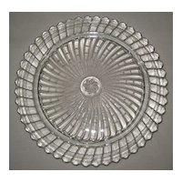 Depression Glass Cake Plate - Swirl Pattern