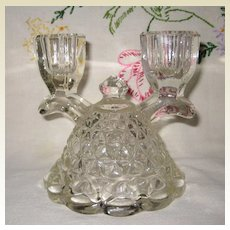 """Imperial Glass """"Laced Edge"""" Depression Glass Candle Holder"""