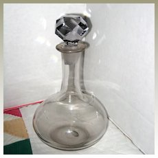 Small Blown Glass Decanter with Faceted Stopper