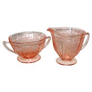 Pink Mayfair or Open Rose Sugar and Creamer - Hocking Depression Glass