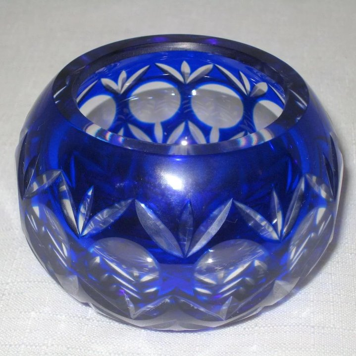 Cobalt Blue Cut To Clear Crystal Votive Candle Holder Or Small Bowl