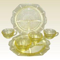 Six Pieces of Yellow Hocking Princess Depression Glass