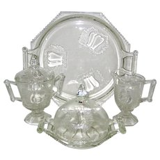 Six Piece Jeanette Glass Baltimore Pear Set - 1950's - 1960's