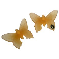 Pair of Westmoreland Art Glass Butterflies in Apricot Mist Color