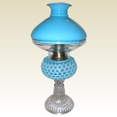 Hobbs Brockunier Blue Opalescent Coin Dot Glass Oil Lamp with Shade