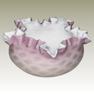 Victorian Mother of Pearl Satin Glass Crimped Edge Bowl in Lavender
