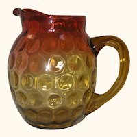 American Victorian Art Glass - Large Amberina Inverted Thumbprint Pitcher