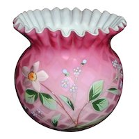 Pink Victorian Mother of Pearl Satin Glass Bowl with Enameled Flowers