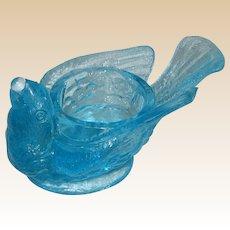 McKee Glass Bird with Berry Open Salt or Salt Cellar - Circa 1890 - Blue