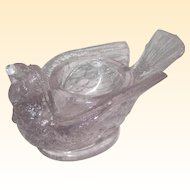 McKee Glass Bird with Berry Open Salt or Salt Cellar - Circa 1890 - Clear