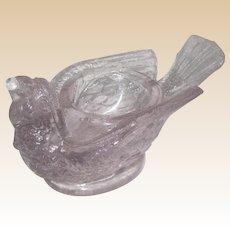 McKee Glass Bird with Berry Open Salt or Salt Cellar - Circa 1890 - Clear