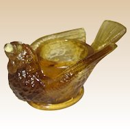 McKee Glass Bird with Berry Open Salt or Salt Cellar - Circa 1890 - Amber