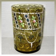 Victorian Art Glass Tumbler with Enamelled Design