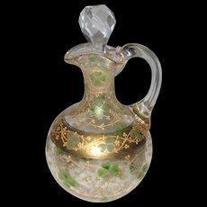 Victorian Glass Cruet with Handpainted Gold and Green Shamrock Design