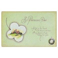 Unused Vintage St.Patrick's Day Postcard - Castle and  Shamrock