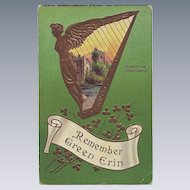 St.Patrick's Day Postcard - Remember Green Erin with Harp and Castle