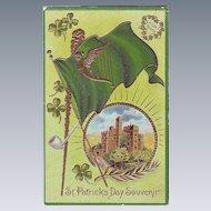 Unused Vintage St.Patrick's Day Postcard - Blarney Castle and Shamrocks