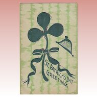 St. Patrick's Day Greeting - Shamrock with Glitter Edge