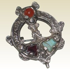 Celtic Penannular Style Pin with Glass Gems