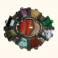 Miracle Celtic Scottish Design Pin with Multicolored Glass Stones