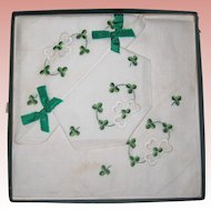 Set of Three Vintage Irish Linen Embroidered Handkerchiefs with Shamrocks - Unused, Original Box