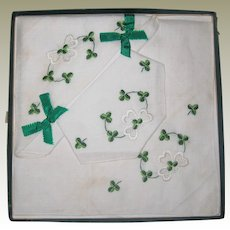 Set of Three Vintage Irish Linen Embroidered Handkerchiefs with Shamrocks - Unused, Original Box