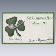 Vintage St. Patrick's Day Postcard - Shamrock and Pipe 1906