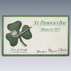 Vintage St. Patrick's Day Postcard - Shamrock and Pipe 1906