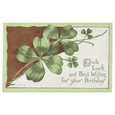 Vintage Postcard with Four Leaf Clovers - March Birthday - St. Patrick's Day