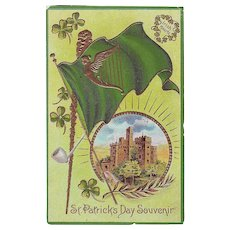 Unused Vintage St.Patrick's Day Postcard - Blarney Castle and Shamrocks