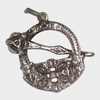 Victorian Celtic Revival Sterling Penannular Charm Pendant or Watch Fob