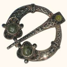 Irish Sterling Silver Penannular Brooch with Connemara Marble and Marcasites
