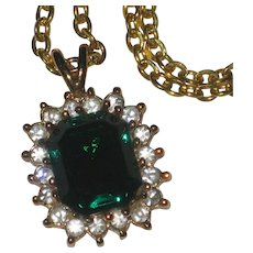 Lindenwold Austrian Crystal Faux Emerald and Rhinestone Pendant Necklace