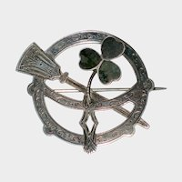 Joseph Cook & Sons Sterling Silver Irish Penannular Brooch with Connemara Marble Shamrock 1924