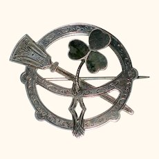 Joseph Cook & Sons Sterling Silver Irish Penannular Brooch with Connemara Marble Shamrock 1924