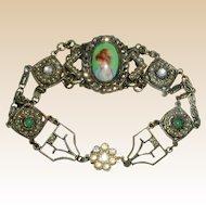 Stunning 1920's Portrait Bracelet with Marcasites